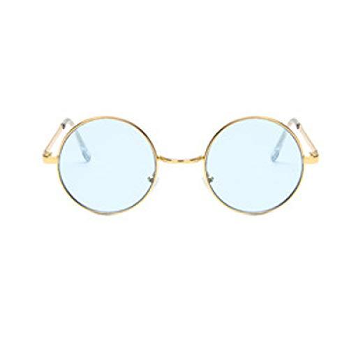 ShSnnwrl Único Gafas de Sol Sunglasses Nuevas Gafas De Sol Redondas De Moda para Mujer, Montura De Metal Vintage, Lente Amarilla