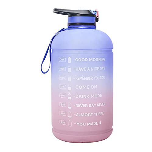 Sports Water Bottleleak-Proof Bpa-Free Sports Drink Bottle, Fitness Gym Drink Cup With Time Scale Bluepowder 3.78L