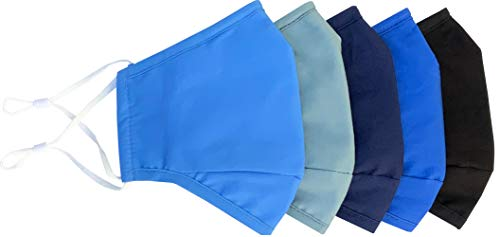 Xchime Protective Cover Washable Reusable,breathable with Adjustable Ear Loops, Nose Wire and Filter Pocket, 3-layer Cotton fabrics, for teen girls, boys, men or women, Assorted color, 5-pack