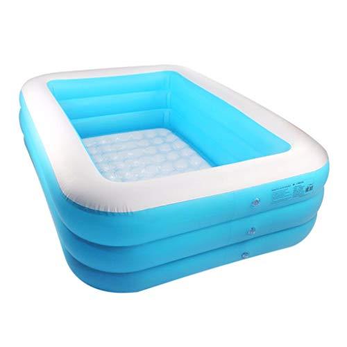 Aufblasbarer Pool Family Pool Garten Freien Pool Kinder Aufstellpool Planschbecken Pool rechteckig für Kinder Sommer blau (140 x100x 50cm)