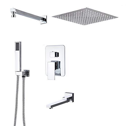 DAMO&GUYAN Grifo de ducha cromado de entrega rápida, juego de ducha de baño, grifo de ducha de lluvia, grifo de la ducha de la bañera, grifo giratorio de la caño oculto, 3 vías 3 pulgadas B