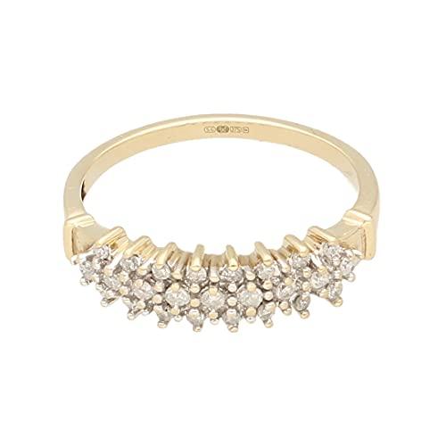 Anillo de oro amarillo de 9 quilates para mujer con diamante de 0,25 quilates (tamaño R) de 5 mm de ancho   Anillo de lujo para mujer