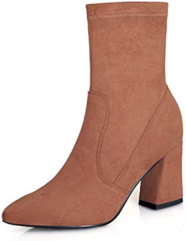 SWEAAY Stiefel Damenleder Dick Mit Martin-Stiefeln Retro-Stretch-Stiefel Schlauchstiefel Seitlicher Reiverschluss Modische High Heels