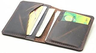 JJNUSA handmade Personalized Men's Minimalist Leather Wallet Wallet Card Holder Distressed Wallets for Gifts - | Dark Brown