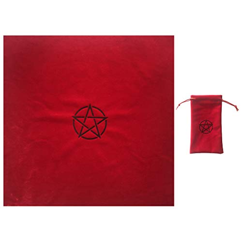 ZZALLL Pentagramme Tarots Tischdecke mit Tasche Samt Altar Stoff Pentacles Tarots Mat - rot