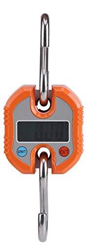Báscula digital para colgar, 150 kg/50 g, mini báscula portátil LCD digital con gancho electrónico para colgar balanza de pesaje para el hogar, caza, mercado de alimentos, peso expreso (naranja)