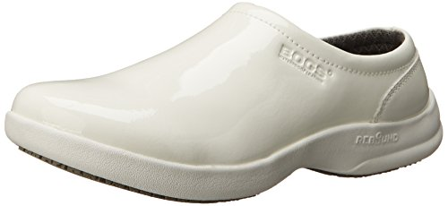 Bogs Women's Ramsey Patent Leather Slip Resistant Work Shoe, White, 5 M US