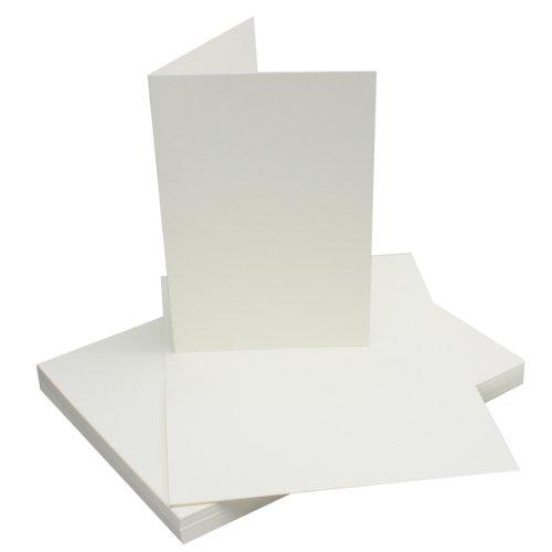 DIN A5 Falt-Karten - Naturweiß - 25 Stück - Einladungskarten - Menükarten - Kirchenheft - Blanko - 14,8 x 21 cm - Marke FarbenFroh® by Gustav Neuser