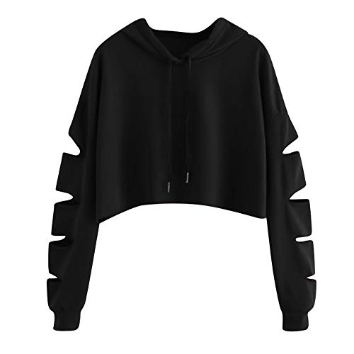 Sudaderas Mujer Tumblr Cortas con Capucha - Andrajoso Manga Camiseta Blusas Invierno Otoño Ropa para Adolescentes Chicas