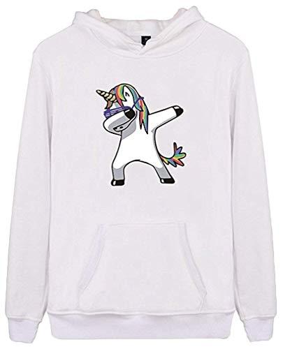 Lovelyed - Sudadera unisex con capucha con estampado de dibujos animados, unicornio bailando, manga larga, ideal como regalo para niños, niñas y adolescentes Blanco blanco M