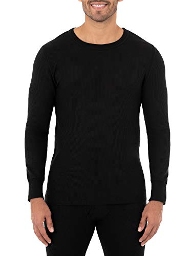 Fruit of the Loom Men's Classic Midweight Waffle Thermal Underwear Crew Top (1 & 2 Packs), Black, Large