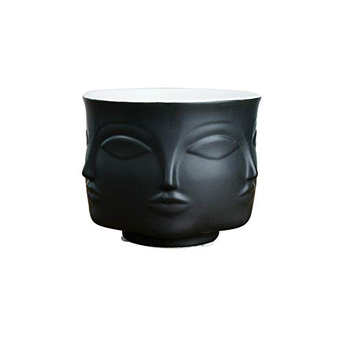 Hancoc Topf Gesicht Keramiktöpfe Kreative Heimat Multi-Fleisch Topf Ornamente Lagerung Lagertank (Color : Black)