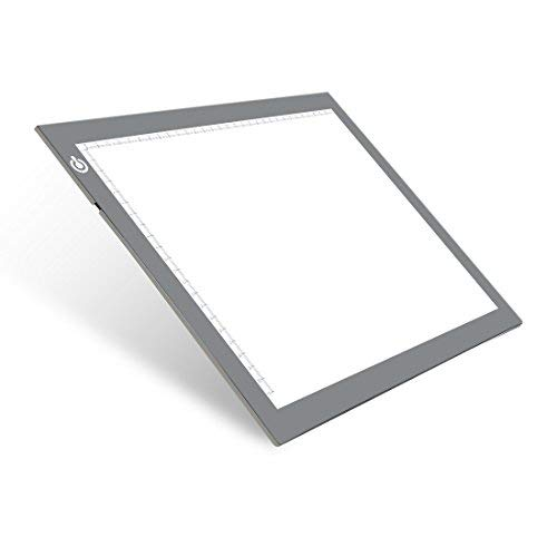 A4 Silver LED Trace Light Pad NXENTC Light Table USB Power LED Tracing Light Board for Artists,Drawing, Sketching, Animation