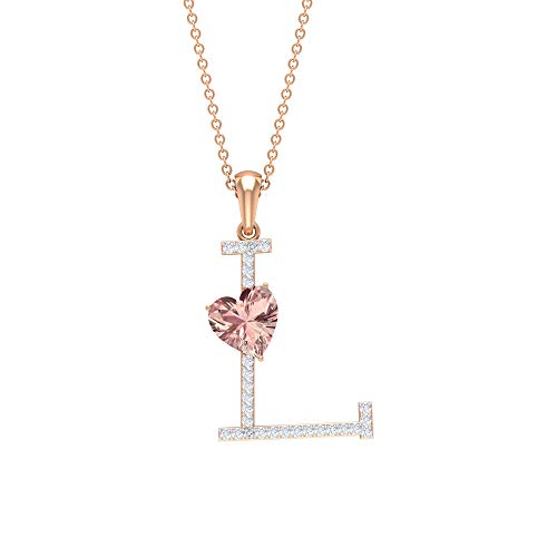 Rosec Jewels - L Alphabet Pendant, D-VSSI Moissanite Necklace, 1.6 CT Lab Created Morganite Pendant (AAAA Quality), 10K Rose Gold