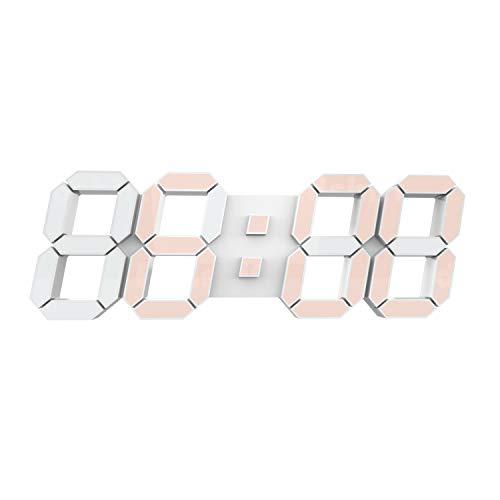 COVERY Reloj despertador LED de pared de 15 pulgadas con gran número de reloj de 12/24 horas de tiempo con control remoto inalámbrico...
