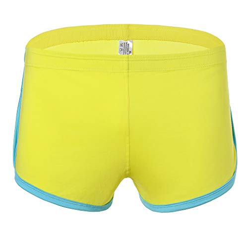 Daysing Herren Unterhosen männer Baumwolle BoxershortsMen Sport Fitness unterhemd Zuhause Strand Shorts Weite microfaser(Gelb,Medium)