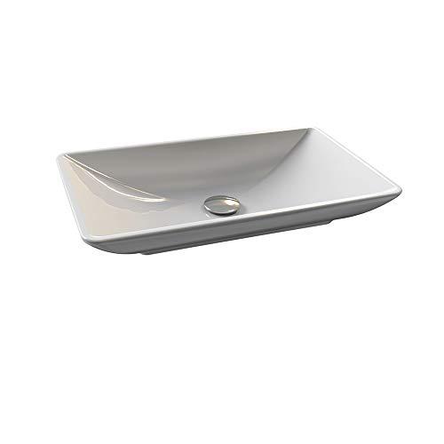 Aqua Bagno Design Keramik Aufsatzwaschbecken Eckig Waschschale Waschtisch KB.Leon.001 | 60 x 38 cm