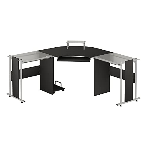 """HOMCOM 69"""" L-Shaped Symmetrical Smoked Glasstop Desk"""