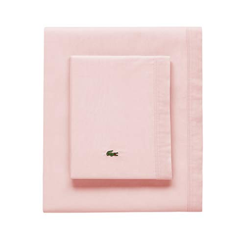 Lacoste 100% Cotton Percale Pillowcase Pair, Solid, Iced Pink, King