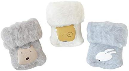 DEBAIJIA 3 Pares de Bebé Calcetines Extra Gruesos de Invierno Cálido Mullidos Vellón 0-12 meses Niños Niñas Recién Nacidos Suave Dibujos Animados Lindo Calcetines Regalo de Cumpleaños