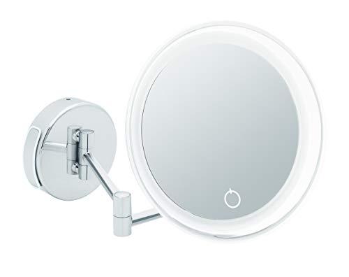 Libaro LED Kosmetikspiegel Siena Vergrößerungsspiegel 7fach Wandmontage Dimmerfunktion Auto-Off Batterien oder USB Kabel