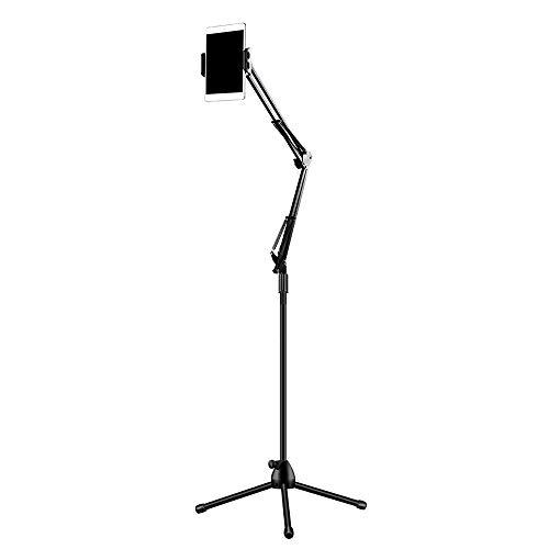UNHOタブレットスタンド床置きiPadアームスタンド三脚折りたたみ式アイパッドスタンド軽量持ち運び便利360度回転ベッド寝ながら下垂防止3.5~10.5インチスマホタブレットkindleSwitch通用ブラック