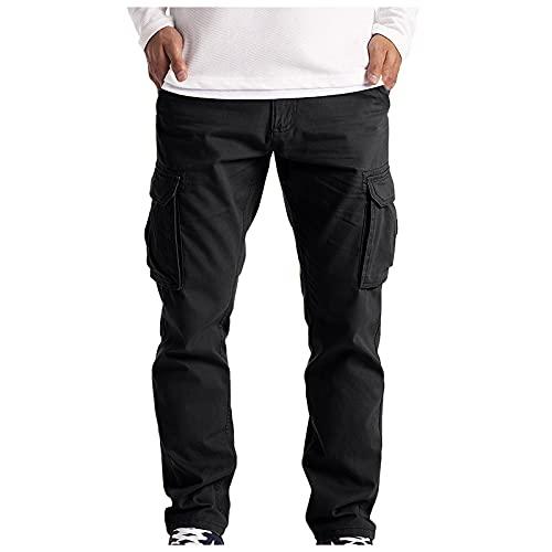 YANFANG Pantalones Casuales Rectos con MúLtiples Bolsillos De Verano para Hombre Mono,Malla Primavera/Verano, Gimnasia VentilacióN Completa Deporte Informal,Negro,3XL