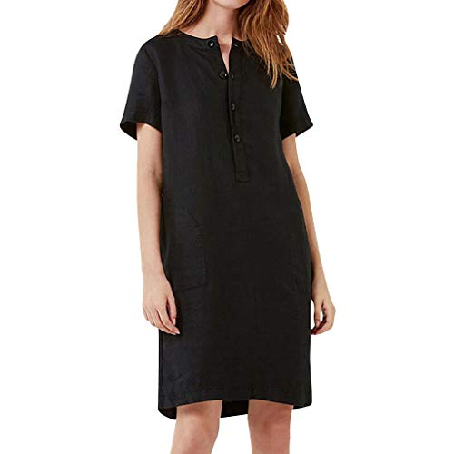 Check Out This Outique Womens Summer Short Sleeve Linen Dress Loose A-line Party Sundress Button Hol...