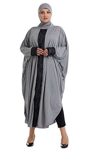 GladThink Musulmán Mujer Talla Extra Suelto Lentejuela Camisa de murciélago Vestido de Falda Larga Gris 8XL
