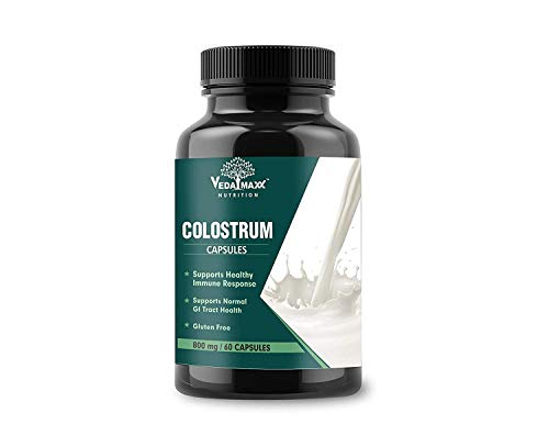 VEDA MAXX Cow Colostrum Capsules Supplement 100% Veg for Healthy Immune System (Pack of 01 each contain 500Mg – 60 Capsules)