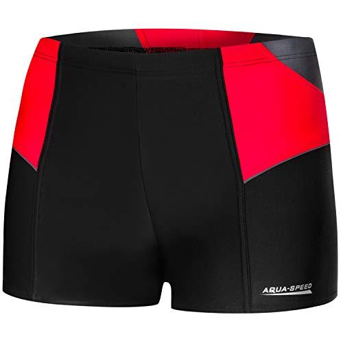 Aqua Speed UV Badehosen kurz eng Herren + gratis eBook | Schwarze sportliche Schwimmhose für Männer | Training | Dexter, Gr. XL, 163 Black red Gray