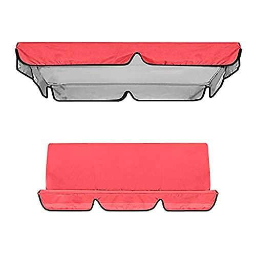 Aunye Ersatzdach, 1 Universal Replacement Canopy und 1 Sitzbezug for Garden Swing Seats, wasserdichtes Dach für Gartenschaukel, UV-Schutz, 142×120×18cm (Rot)