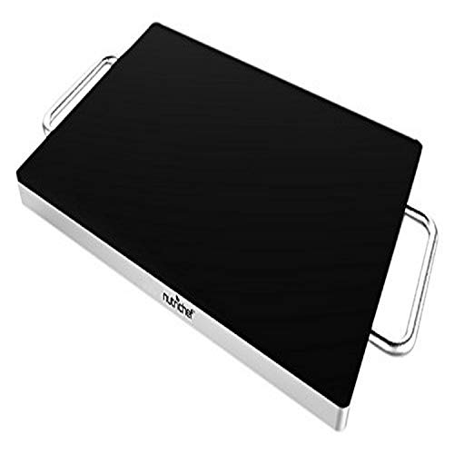 NutriChef Stainless Warming Hot Plate - Keep Food Warm w/ Portable Electric Food Tray Dish Warmer w/ Black Glass Top, For Restaurant, Parties, Buffet Serving, Table or Countertop Use - AZPKWTR30