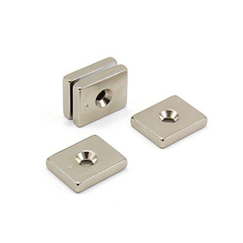 Magnet Expert 25 x 20 x 5 mm d'épaisseur x 4.5 mm c/s N42 Néodyme Aimant - 9.8 kg Pull (Lot de 4)