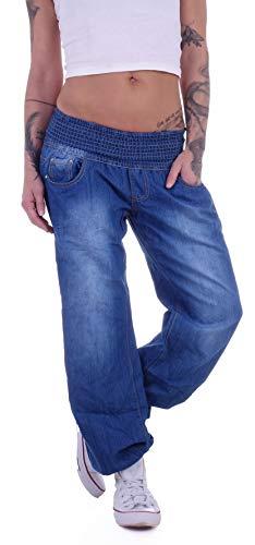 Damen Aladin Harem Jeans Hose Baggy Boyfriend Pluderhose Blau S 36 M 38 L 40 XL 42 XXL 44 Gr größe Size puderhosen Hosen Stretch mom Loose fit Cut Baggyhose-n baggys Aladinhose-n Haremshose-n locker