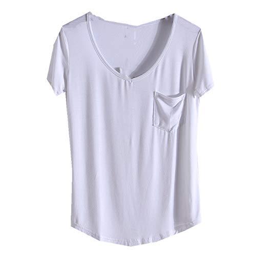 Camiseta de manga corta para mujer con cuello en V suelto y