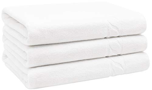 ZOLLNER 3er Set Duschtücher mit Zopfmuster, Baumwolle, ca. 70x140 cm, weiß
