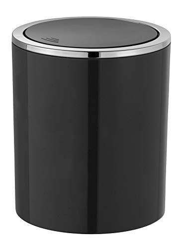 WENKO Schwingdeckeleimer Inca Black - Abfallbehälter mit Schwingdeckel Fassungsvermögen: 2 l, Kunststoff (ABS), 14 x 16.8 x 14 cm, Schwarz