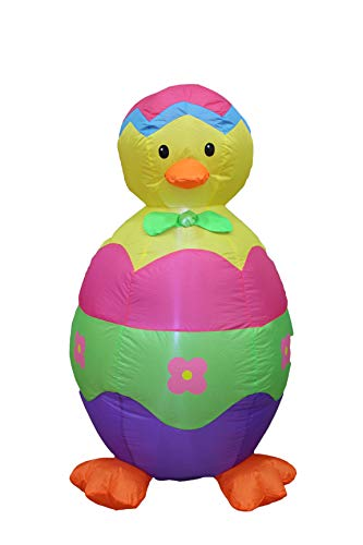BZB Goods 4 Foot Easter Inflatable Chick and Egg LED Lights Lighted Yard Blow Up Decor Indoor Outdoor Holiday Party Art Decoration