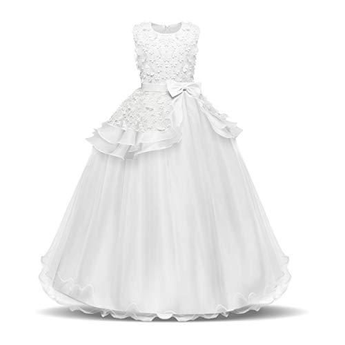 NNJXD Mädchen Ärmellos Stickerei Prinzessin Festzug Kleider Abschlussball Ballkleid Größe(120) 4-5 Jahre 354 Weiß-A