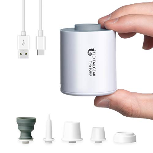 FLEXTAILGEAR TINY PUMP 携帯式エアーポンプ 1300mAh 電池 USB充電式 最軽量ポンプ 空気入れ 空気抜 プール用ブイ 浮き輪 真空袋など対応 (ホワイト)