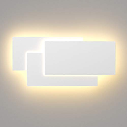 Klighten 36W Lámpara de pared Interior Moderna Apliques de Pared Blanco Cálido 3000K perfecto para Salon Dormitorio Sala Pasillo Escalera (Blanco)