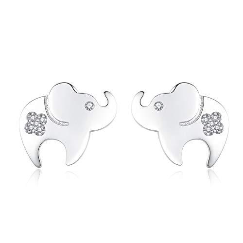 VIKI LYNN Pendientes de tuerca de elefante para mujeres y niñas de plata de ley 925 con diseño de animales