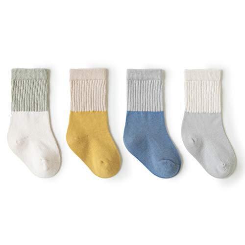 LUSUO キッズ 靴下 4足セット カラフル 出産祝い 可愛い 子供の靴下 くつした 男の子 女の子 ソックス 綿 通学 スポーツ スニーカーソックス 四季用