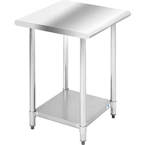 Kitchen Work Table Scratch Resistent and Antirust Metal Stainless Steel Work Table with Adjustable Table Foot Scratch Resistent 24Wx24L