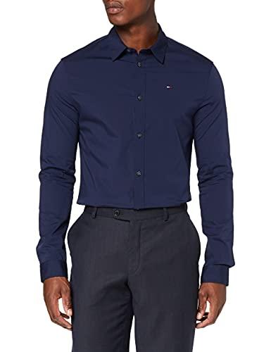 Tommy Jeans Herren Original Stretch Langarm Slim Fit Freizeithemd Blau (Black Iris 002) Large