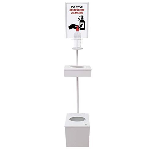 Dispensador de Pie para Gel Hidroalcohólico Desinfectante de Manos para Comercios y Oficinas, con Cartelera A4, Caja Cerrada para Caja Guantes y Papelera con Tapa. Fabricado en España