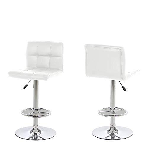 HomestreetUK Hot Barhocker, modernes dänisches Design, hochwertiges schwarzes oder weißes Leder-Optik, Gasdruckfeder weiß