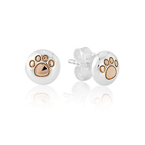 Gemma J 14ct Rose Gold and Sterling Silver Paw Print Earrings - from the Gemma J 'Woof' Collection
