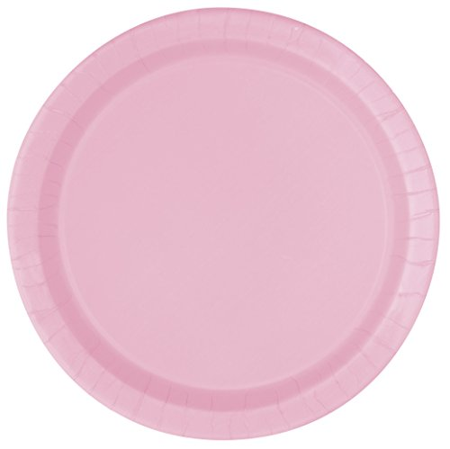 Unique Party - 30878 - Paquet de 20 Assiettes en Carton - 18 cm - Rose Pastel